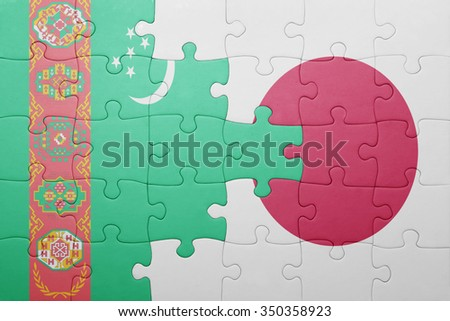 puzzle with the national flag of turkmenistan and japan. concept