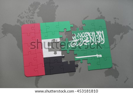 puzzle with the national flag of united arab emirates and saudi arabia on a world map background. 3D illustration