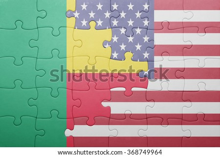 puzzle with the national flag of united states of america and benin .concept - stock photo
