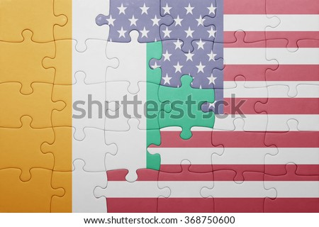 puzzle with the national flag of united states of america and cote divoire .concept - stock photo