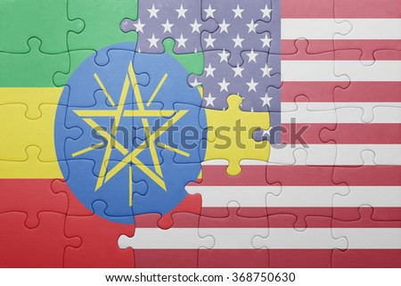 puzzle with the national flag of united states of america and ethiopia .concept - stock photo