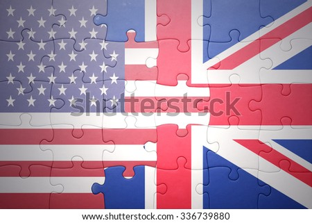 puzzle with the national flag of united states of america and great britain .concept - stock photo
