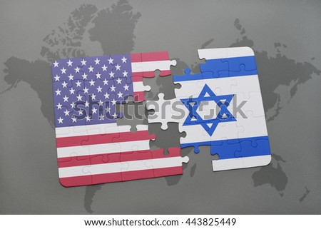 Puzzle national flag united states america stock illustration puzzle with the national flag of united states of america and israel on a world map gumiabroncs Choice Image