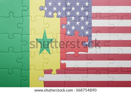 puzzle with the national flag of united states of america and senegal .concept - stock photo