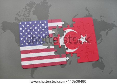 puzzle with the national flag of united states of america and turkey on a world map background - stock photo