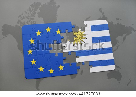 puzzle with the national flag of uruguay and european union on a world map