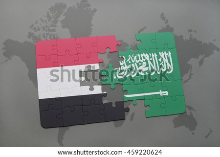 puzzle with the national flag of yemen and saudi arabia on a world map background. 3D illustration