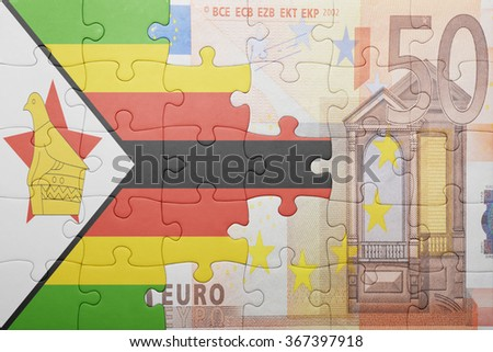 puzzle with the national flag of zimbabwe and euro banknote . concept - stock photo