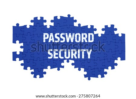 Puzzle with the PASSWORD SECURITY word  isolated on white  - stock photo