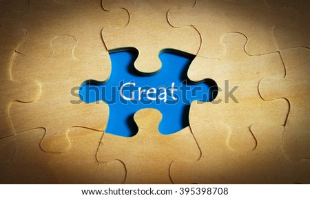 Puzzle with word great - stock photo