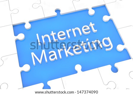 puzzle with words on blue background concept: Internet Marketing - stock photo