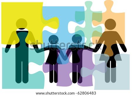 Puzzled family people problem symbols in counseling mental health psychology abstract. - stock photo
