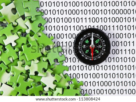 puzzles and compass on a binary code
