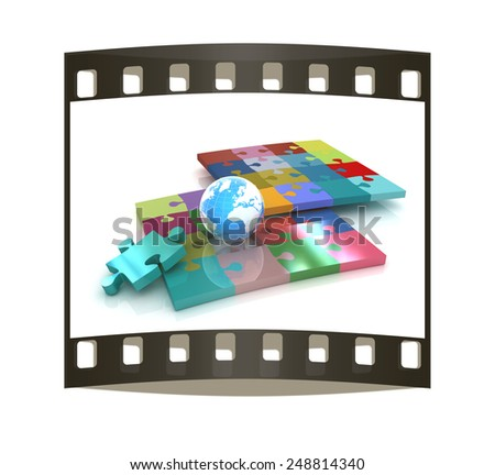 Puzzles and earth.Isolated on white background.3d rendered. The film strip