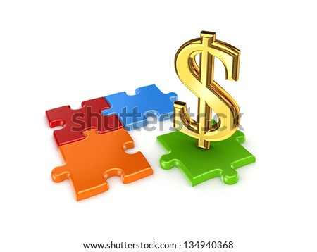 Puzzles and symbol of dollar.Isolated on white background.3d rendered. - stock photo