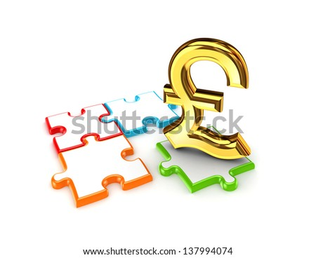 Puzzles and symbol of Pound Sterling.Isolated on white background,3d rendered. - stock photo