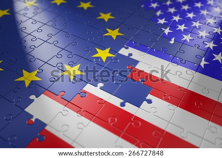 puzzles in the form of flags of the European Union and the United States - stock photo