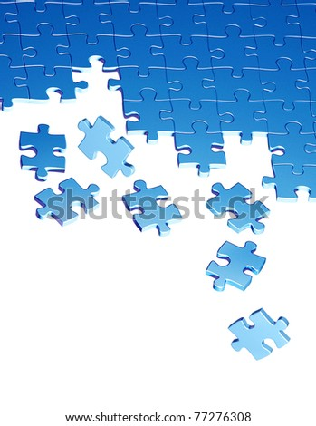Puzzles of blue color. Isolated over white - stock photo