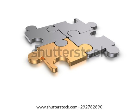 Puzzles on a white background. - stock photo