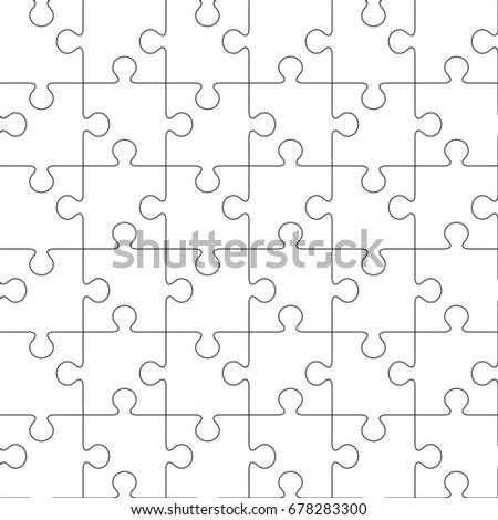 Puzzles. Seamless line jigsaw pattern. illustration
