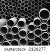 PVC Pipes -- in various diameters, for a drainage project - stock photo