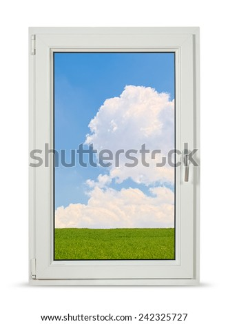 Pvc window on white background with clipping path.