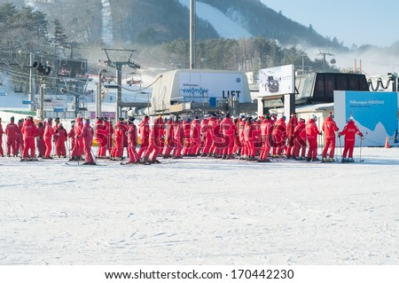 Pyeongchang, South Korea December 24, 2013: students from different schools going to learn how to ski - stock photo