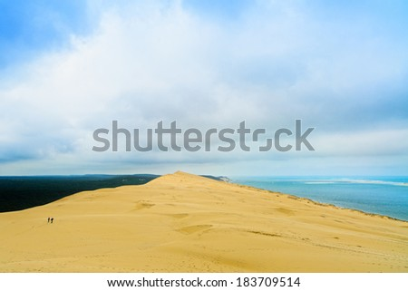 Pyla or pilat dune, Bordeaux. France, largest sand dune in Europe and ocean on background. - stock photo
