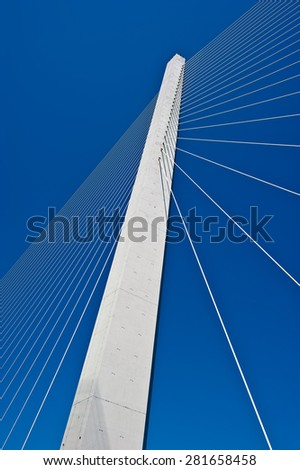 Pylon cable-stayed bridge on the sky background.Far East of Russia.