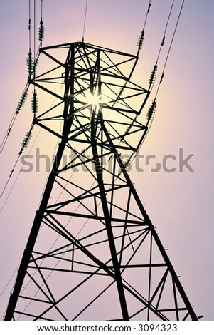 pylon carrying electricity supply power lines