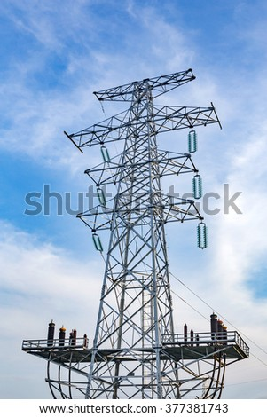 Pylon in the blue sky white cloud background