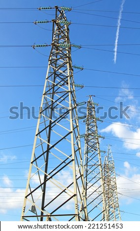 pylon of the high voltage electric cables and blue sky