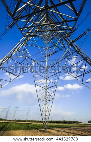 Pylon under the blue sky white clouds