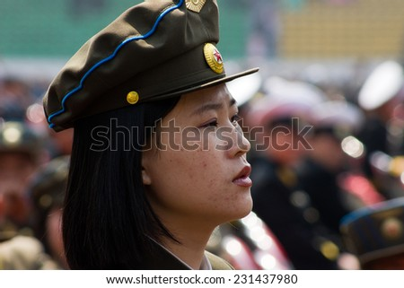 PYONGYANG, NORTH KOREA - CIRCA APRIL 2012: North Korea military woman at the military parade celebrate centenary birth of President Kim Il Sung - stock photo