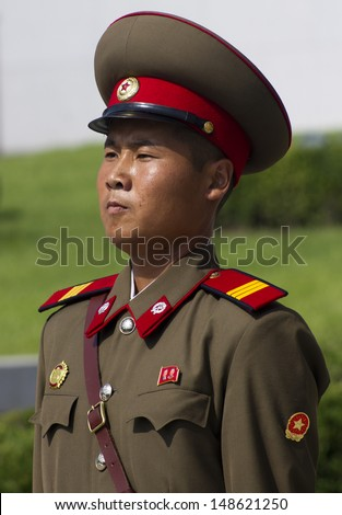 PYONGYANG, NORTH KOREA - CIRCA JULY 2013 : North Korean soldier at the military parade in Pyongyang of the 60th anniversary of the conclusion of the Korean War. Pyongyang, North Korea. Circa July 2013 - stock photo