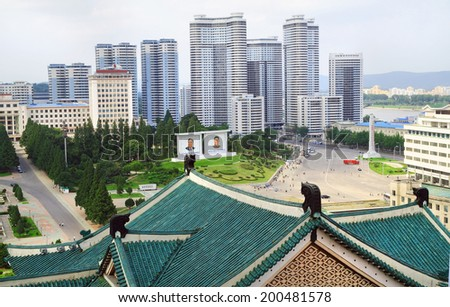 PYONGYANG, NORTH KOREA - JULY 28, 2012: View of the downtown Pyongyang capital of the North Korea - stock photo