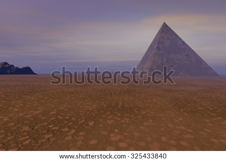 Pyramid,a desert landscape, orange atmosphere with thinly clouds in the sky.