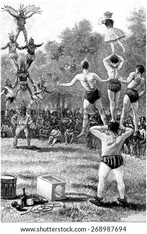 Pyramid against pyramid, vintage engraved illustration. Jules Verne Cesar Cascabel, 1890. - stock photo