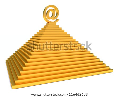 pyramid and gold email symbol over white