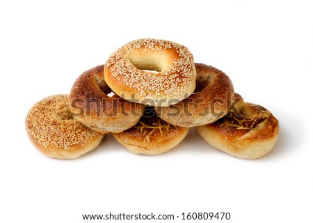 pyramid assorted Bagel on white background