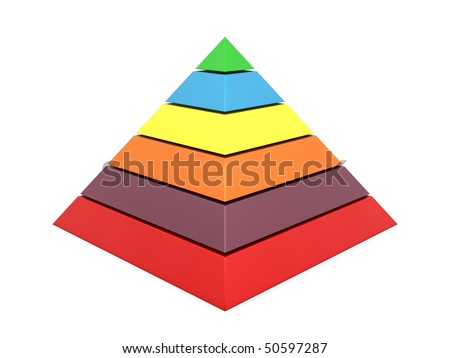 Pyramid chart multi color isolated on white background