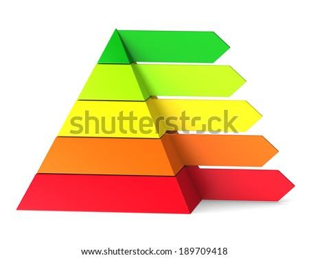 Pyramid chart on white background - stock photo