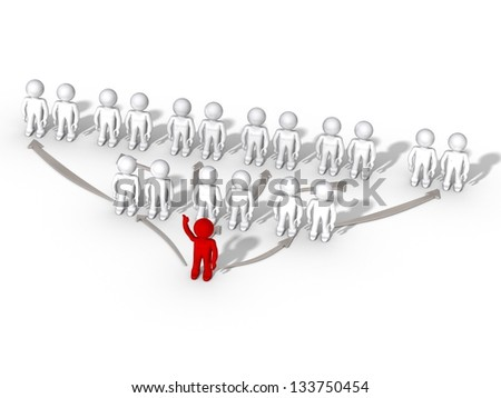 pyramid chart with 3d people - stock photo
