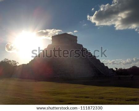 pyramid Columns of the kings, Chichen Itza Mayan Ruins in Riviera Maya, Mexico - stock photo