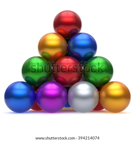 Pyramid corporation sphere ball red top order leadership element teamwork hierarchy stable group business concept multicolor different colors colorful shiny sparkling icon. 3d render isolated - stock photo