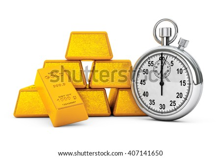 Pyramid from Golden Bars with Stopwatch on a white background. 3d Rendering
