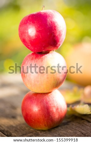 Pyramid from red apples on wooden table in autumn outdoors. Thanksgiving holiday concept