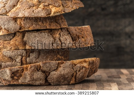 Pyramid from slices of rye bread on table horizontal