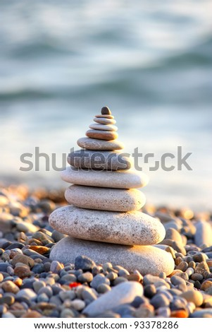 Pyramid from stones. The image close up - stock photo