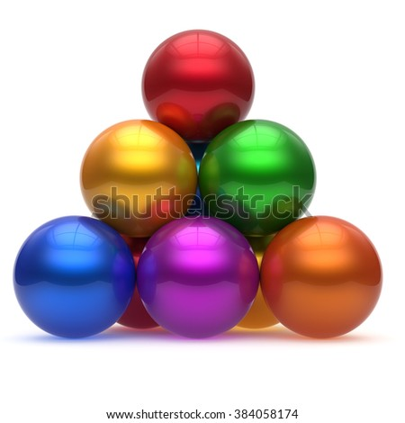 Pyramid hierarchy sphere ball corporation top order leadership different element teamwork group business concept multicolored shiny sparkling. 3d render isolated - stock photo